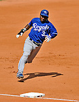 14 September 2008: Kansas City Royals' infielder Esteban German in action against the Cleveland Indians at Progressive Field in Cleveland, Ohio. The Royal defeated the Indians 13-3 to take the 4-game series three games to one...Mandatory Photo Credit: Ed Wolfstein Photo