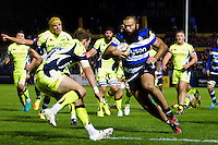 Kane Palma-Newport of Bath Rugby side-steps his way past Will Addison of Sale Sharks. Aviva Premiership match, between Bath Rugby and Sale Sharks on October 7, 2016 at the Recreation Ground in Bath, England. Photo by: Patrick Khachfe / Onside Images