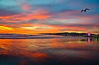 Santa Monica Beach amid the sunset on Wednesday, January 7, 2015.