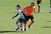 VOETBAL: JOURE: Sportpark de Hege Simmerdyk, 20-04-2013, Amateurvoetbal 2012-2013, SC Joure zat. afd. - VV Oudehaske, Jeroen Luhoff (#9) Lennart Nijholt (#8), Eindstand 1-1, ©foto Martin de Jong