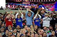 Namibia fans in the crowd show their support. Rugby World Cup Pool C match between New Zealand and Namibia on September 24, 2015 at The Stadium, Queen Elizabeth Olympic Park in London, England. Photo by: Patrick Khachfe / Onside Images