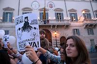 Roma 20 Maggio 2011.Manifestazione di Giovani  spagnoli del movimento 15 maggio davanti all'Ambascita di Spagna in solidarieta' con le manifestazioni che si tengono in Spagna .
