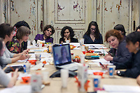 Moscow, Russia, 17/02/2011..Editorial conference at Snob magazine in their offices in a converted army factory.