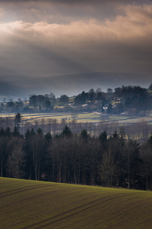 View across misty woods, fields and morrland