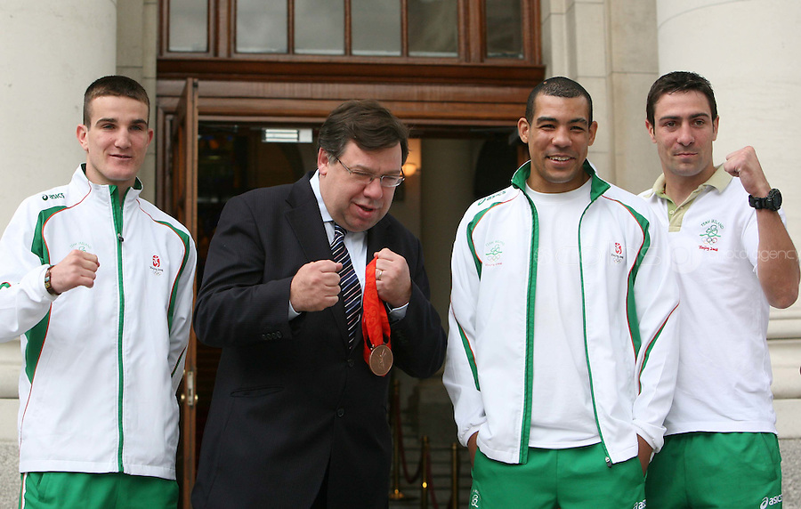 03/09/2008.Members of the Irish Boxing Olympic team .(L to R).John Joe Nevin, Bronze medalist Darren Sutherland, Silver Medalist Ken Egan during a meeting with An  Taoiseach Brian Cowen at Government Buildings, dublin..Photo: Gareth Chaney Collins
