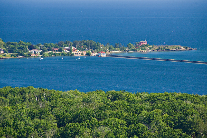 Overview from Mount Marquette overlook in Marquette Michigan showing Lake Superior, Marquette harbor and Marquette Lighthouse.