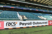 A general view of a RACS billboard alongside the pitch. The Clash, Aviva Premiership match, between Bath Rugby and Leicester Tigers on April 8, 2017 at Twickenham Stadium in London, England. Photo by: Patrick Khachfe / Onside Images