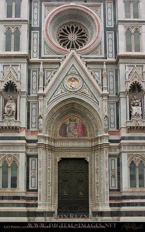 Left Portal and Rosette Window 19th c Facade Santa Maria del Fiore Florence