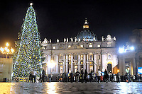 the Christmas tree on St Peter's square during the lighting ceremony at the Vatican, 16 December 2011.