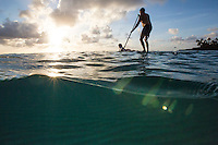 Father and daughter standup paddling in Waimea Bay at sunset