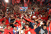 March 15, 2009 - San Salvador, El Salvador: The FMLN victory party  at Masferrer Plaza. The crowd was celebrating the election of former journalist Mauricio Funes of the FMLN party who became the first leftist president in El Salvador's history. <br />