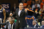 02 January 2016: Notre Dame head coach Mike Brey. The University of Virginia Cavaliers hosted the University of Notre Dame Fighting Irish at the John Paul Jones Arena in Charlottesville, Virginia in a 2015-16 NCAA Division I Men's Basketball game. Virginia won the game 77-66.