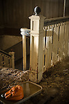 A carved jack lantern in a Abandoned Hotel's Staircase