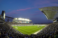 PPL Park during pre-game introductions. The Philadelphia Union defeated D. C. United 2-0 during a Major League Soccer (MLS) match at PPL Park in Chester, PA, on August 10, 2013.