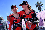 Tejay Van Garderen (USA) and Daniel Oss (ITA) BMC Racing Team after they cross the finish line to win the 1st stage of the race of the two seas, 52nd Tirreno-Adriatico by NamedSport a 22.7km Team Time Trial around Lido di Camaiore, Italy. 8th March 2017.<br /> Picture: La Presse/Gian Mattia D'Alberto | Cyclefile<br /> <br /> <br /> All photos usage must carry mandatory copyright credit (&copy; Cyclefile | La Presse)