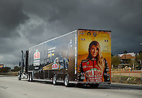 Feb 7, 2017; Pomona, CA, USA; The car hauler for NHRA top fuel driver Leah Pritchett heads towards Pomona for the Winternationals at Auto Club Raceway at Pomona. Mandatory Credit: Mark J. Rebilas-USA TODAY Sports