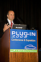 Ed Kjaer, Director of Electric Transportation, Southern California Edison Company. Opening day of the July 22-24 inaugural Plug-In 2008 Conference & Exposition: A Short Drive to Tomorrow in San Jose, CA. The event showcases the latest technological advances, market research and policy initiatives shaping the future of plug-in hybrid electric vehicles (PHEVs). Original photo is high-resolution (4368 x 2912 pixels).
