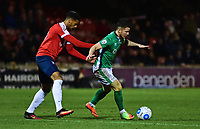Lincoln City's Billy Knott shields the ball from York City's Vadaine Oliver<br /> <br /> Photographer Andrew Vaughan/CameraSport<br /> <br /> The Buildbase FA Trophy Semi-Final First Leg - York City v Lincoln City - Tuesday 14th March 2017 - Bootham Crescent - York<br />  <br /> World Copyright &copy; 2017 CameraSport. All rights reserved. 43 Linden Ave. Countesthorpe. Leicester. England. LE8 5PG - Tel: +44 (0) 116 277 4147 - admin@camerasport.com - www.camerasport.com