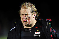 A bloodied Petrus Du Plessis of Saracens leaves the field after the match. Anglo-Welsh Cup match, between Saracens and Leicester Tigers on February 5, 2017 at Allianz Park in London, England. Photo by: Patrick Khachfe / JMP