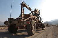 The husky mine detector in the patrol diving through the tricky mountain roads of Kunar province.