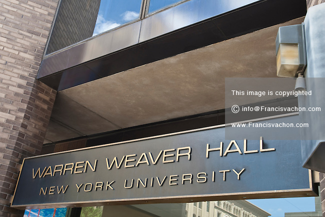 Warren Weaver Hall of the New York University is pictured in the New York City borough of Manhattan, NY, Thursday August 4, 2011. Founded in 1831 and situated in the Greenwich Village section of Manhattan, New York University (NYU) is a private, nonsectarian research university based in New York City.