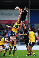 Hapakuki Moala Liava'a of New Zealand U20 wins the ball at a lineout. World Rugby U20 Championship 5th Place Play-Off between Australia U20 and New Zealand U20 on June 25, 2016 at the AJ Bell Stadium in Manchester, England. Photo by: Patrick Khachfe / Onside Images