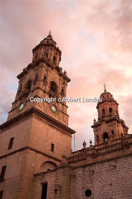Church in Morelia at dawn