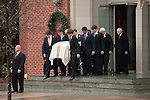 December 11, 2010. Raleigh, NC.. Elizabeth Edwards' casket is brought from the church after funeral services.. A funeral was held at the Edenton Street United Methodist Church to honor the life of Elizabeth Edwards, the estranged wife of former Democratic presidential candidate John Edwards, who died after an 6 year battle with breast cancer..