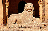 Hellanistic Lion sculpture in the Medieval Hospital of the Knights of St John completed in 1480 which houses the Archeological Museum,  Rhodes, Greece. UNESCO World Heritage Site