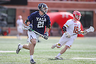 College Park, MD - February 25, 2017: Yale Bulldogs Conor Mackie (21) runs with the ball during game between Yale and Maryland at  Capital One Field at Maryland Stadium in College Park, MD.  (Photo by Elliott Brown/Media Images International)