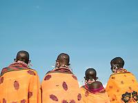 Maasai tribeswomen standing together, Tipilit Village near Amboseli National Park, Kenya