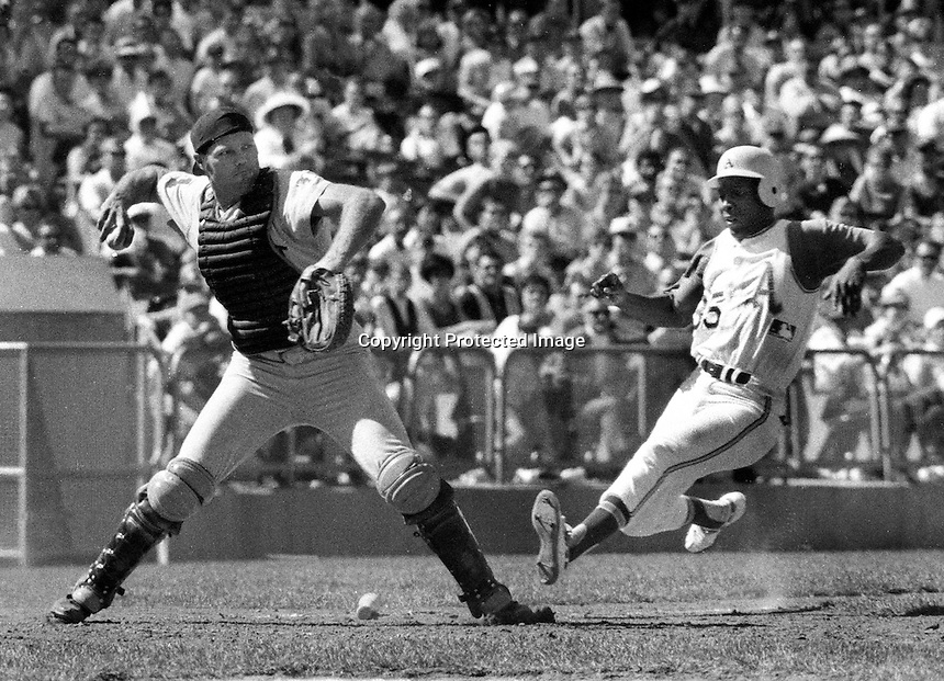 Detroit Tiger catcher Bill Freehan ready to throw after forcing Oakland Athletics runner Ramon Webster at home. (1968 photo by Ron Riesterer)