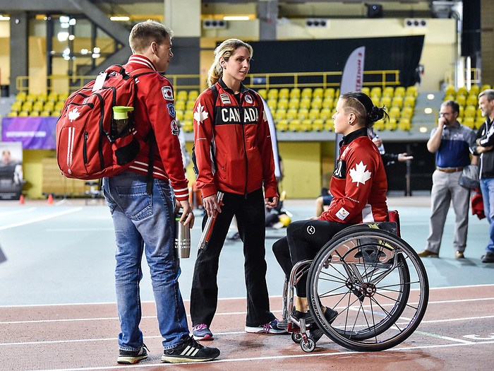 MONTREAL, QC - APRIL 29:  Cindy Ouellet speaks with a committee members during the 2017 Montreal Paralympian Search at Complexe sportif Claude-Robillard. Photo: Minas Panagiotakis/Canadian Paralympic Committee