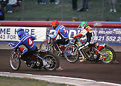 Heat 5 - Adams (green) goes between Kasprzak (red) and Lanham (blue) - Lakeside Hammers vs Swindon Robins - Sky Sports Elite League at Arena Essex, Purfleet - 17/08/07  - MANDATORY CREDIT: Gavin Ellis/TGSPHOTO - SELF-BILLING APPLIES WHERE APPROPRIATE. NO UNPAID USE. TEL: 0845 094 6026..