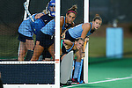 18 September 2015: North Carolina's Emily Wold (center) waits for a corner with Shannon Johnson (left) and teammates. The University of North Carolina Tar Heels hosted the University of Louisville Cardinals at Francis E. Henry Stadium in Chapel Hill, North Carolina in a 2015 NCAA Division I Field Hockey match. UNC won the game 5-0.