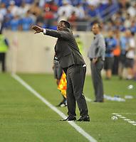 Augustin Castillo El Salvador Head Coach.  Trinidad & Tobago tied El Salvador 1-1 in the first round of the Concacaf Gold Cup, at Red Bull Arena, Monday July 8 , 2013.