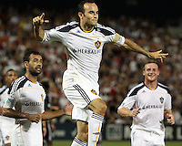 Landon Donavon #10 of the Los Angeles Galaxy celebrates after scoring the winning goal during an MLS match against D.C. United at RFK Stadium on July 18 2010, in Washington D.C. Galaxy won 2-1.