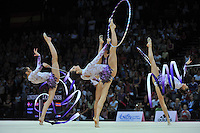 September 24, 2011; Montpellier, France;  Bulgaria group performs with ribbons + hoops routine at 2011 World Championships Montpellier. Photo by Tom Theobald.