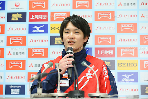 Yusuke Tanaka, <br /> MAY 17, 2015 - Artistic Gymnastics : <br /> The 54th NHK Cup <br /> Individual All-Around <br /> Press Conference <br /> at Yoyogi 1st Gymnasium, Tokyo, Japan. <br /> (Photo by YUTAKA/AFLO SPORT)