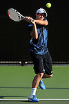 26 MAY 2011: Colin Egan of Emory returns a volley during the Division III Men's Tennis Championship held at the Biszantz Family Tennis Center and Pauley Tennis Complex in Claremont, CA. Amherst defeated Emory 5-2 for the national title. Stephen Nowland/NCAA Photos