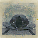 Photo based mixed medium image of woman in yoga posture baddhakonasana within an ancient yoga yantra mandala.  Organic treatment resulting in softness of image and extreme texture and grain.