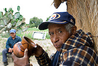 Drinking pulque at a Tinacal at the base of the Malinche volcano. Pulque route Tlaxcala, Mexico June 6, 2007
