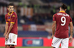 Calcio, Serie A: Roma vs Palermo. Roma, stadio Olimpico, 4 novembre 2012..AS Roma forward Erik Lamela, of Argentina, argues with teammate Pablo Daniel Osvaldo, right, during the Italian Serie A football match between AS Roma and Palermo, at Rome's Olympic stadium, 4 november 2012..UPDATE IMAGES PRESS/Riccardo De Luca