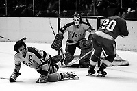 Seals vs Atlanta Flames, Seals Dave Hrechkosy blocks shot by Flames #20, goalie Gilles Meloche.<br />