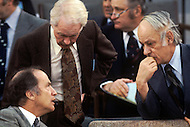 Ottawa, Canada, February 1978. Conference of Canadian Prime Ministers. Pierre E. Trudeau, (October 18, 1919 - September 28, 2000, on the left), was the 15th Prime Minister of Canada from April 20, 1968 to June 4, 1979, and again from March 3, 1980 to June 30, 1984.
