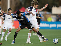 Andre Luiz of Earthquakes fights for the ball against Kyle Beckerman of Real Salt Lake during the game at Buck Shaw Stadium in Santa Clara, California on March 27th, 2010.   Real Salt Lake defeated San Jose Earthquakes, 3-0.