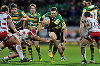 George North of Northampton Saints takes on the Gloucester defence. Aviva Premiership match, between Northampton Saints and Gloucester Rugby on November 27, 2015 at Franklin's Gardens in Northampton, England. Photo by: Patrick Khachfe / JMP