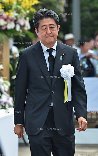 Shinzo Abe, August 9, 2016, Nagasaki, Japan : Japan's Prime Minister Shinzo Abe attends a ceremony of marking the 71th anniversary of the atomic bombing at Peace Park in Nagasaki, Japan, on August 9, 2016. (Photo by AFLO)