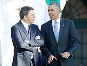United States President Barack Obama, right, and Prime Minister Matteo Renzi of Italy, left, engage in light conversation during an Official Arrival Ceremony in honor of the Prime Minister on the South Lawn of the the White House in Washington, DC on Tuesday, October 18, 2016. <br /> Credit: Ron Sachs / CNP
