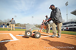 Toney Vaughn of the grounds crew works on the field at Oxford-University Stadium in Oxford, Miss. on Tuesday, February 23, 2010.